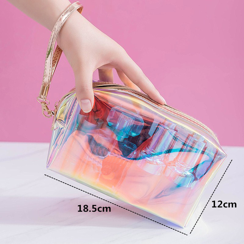 product-2020 new 1 Pc Colorful Holographic Women Cosmetic Bag TPU Clear Makeup Bag Beauty Organizer