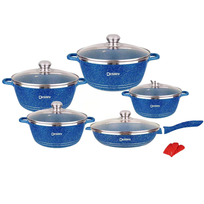 Die casting Dessini 12pcs cookware set with Granite coating