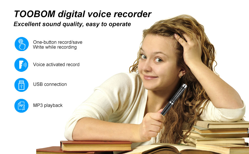 Digital Voice Recorder for Lectures -  16GB Voice Activated Audio Recorder Long Battery Dictaphone Recording Device