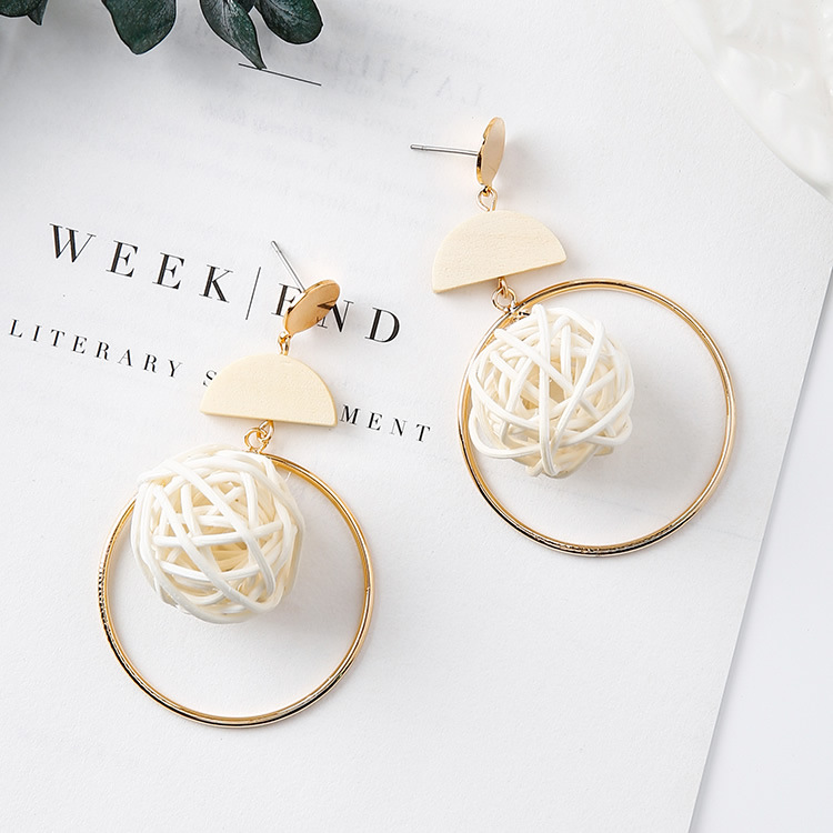 Hand-woven stylish design large circle geometrical earrings bird nest wooden earrings drop earrings
