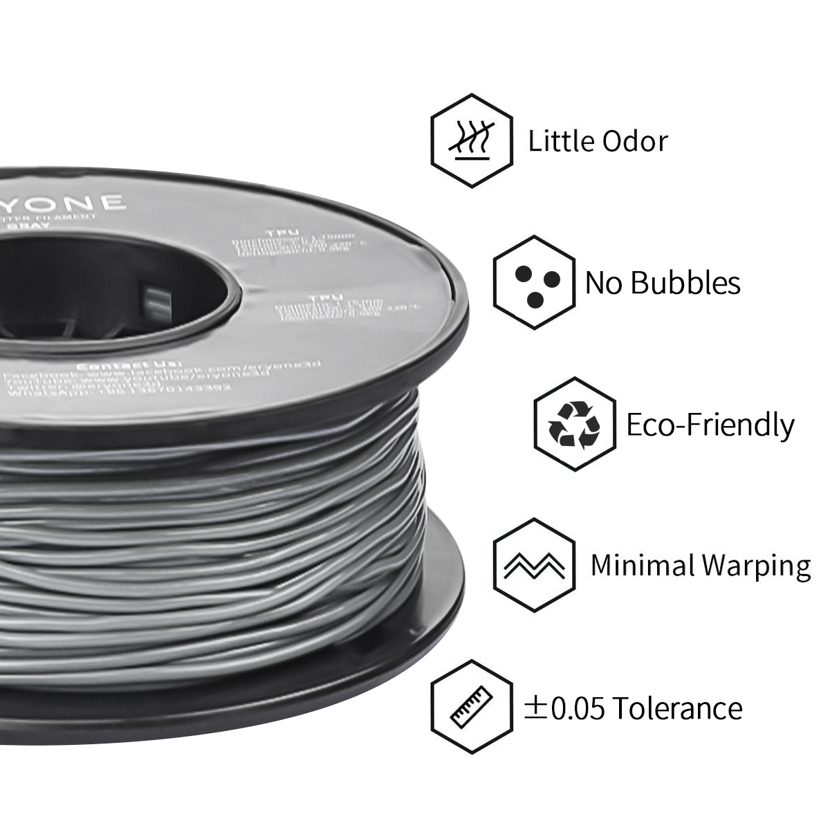 Amazon Vente Chaude TPU Filament OEM Service NIice Impression Douce et Flexible 0.5 kg/Roll 3D Filament D'imprimante