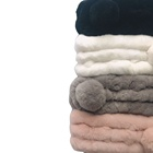 Scarf Muffler Soft Beautiful Scarf Muffler Rex Rabbit Fur Ball Female Women Cute Colorful Scarves