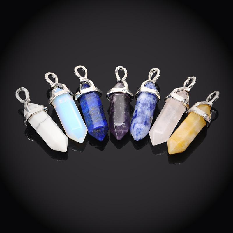 Gemstone Natural Quartz Crystal Chakra Pendant Jewelry Hexagonal Charm Healing Point Stones Silver Plated Factory Custom