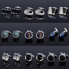 2020 New Product Customized Tie clip & Cufflink Jewelry Cuff Button Colorful Stone Cufflink for Men
