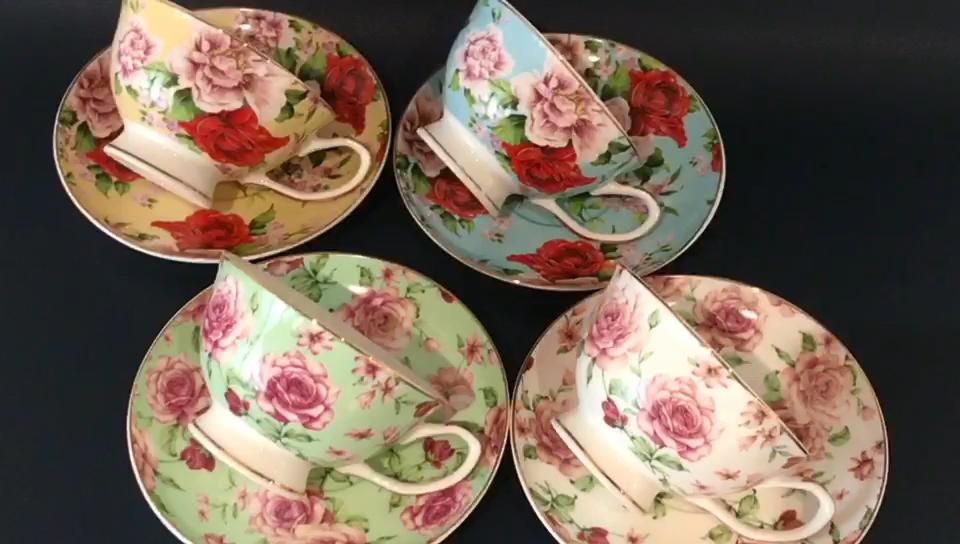 Avrupa tarzı altın jant çiçek desen stok toptan 180CC kişiselleştirilmiş zarif kemik çini kahve fincan ve çay tabağı