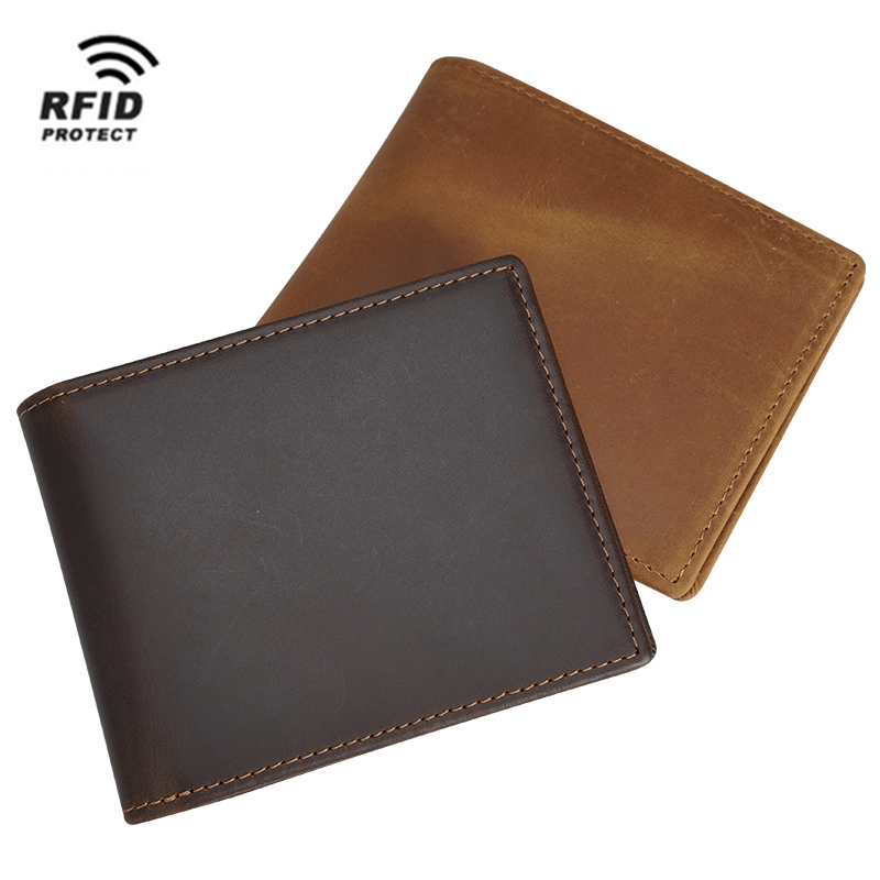 Custom Brown Full Grain Genuine Leather <strong>Wallet</strong> Men Crazy Horse Anti Rfid Blocking Security Leather Bifold <strong>Wallet</strong>