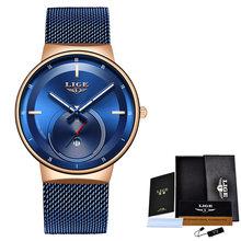2020 LIGE новые женские часы Лидирующий бренд Роскошные женские сетчатые ремни ультра-тонкие часы из нержавеющей стали водонепроницаемые квар...(China)