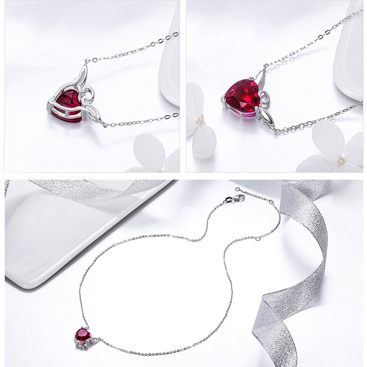 product-Women White Gold Plated 925 Sterling Silver Pendant Necklace Jewelry Set-BEYALY-img