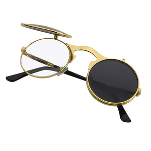 New Fashion Double Lens Round Steampunk Flip Up Sunglasses Mirror Glasses Unisex Women and Men