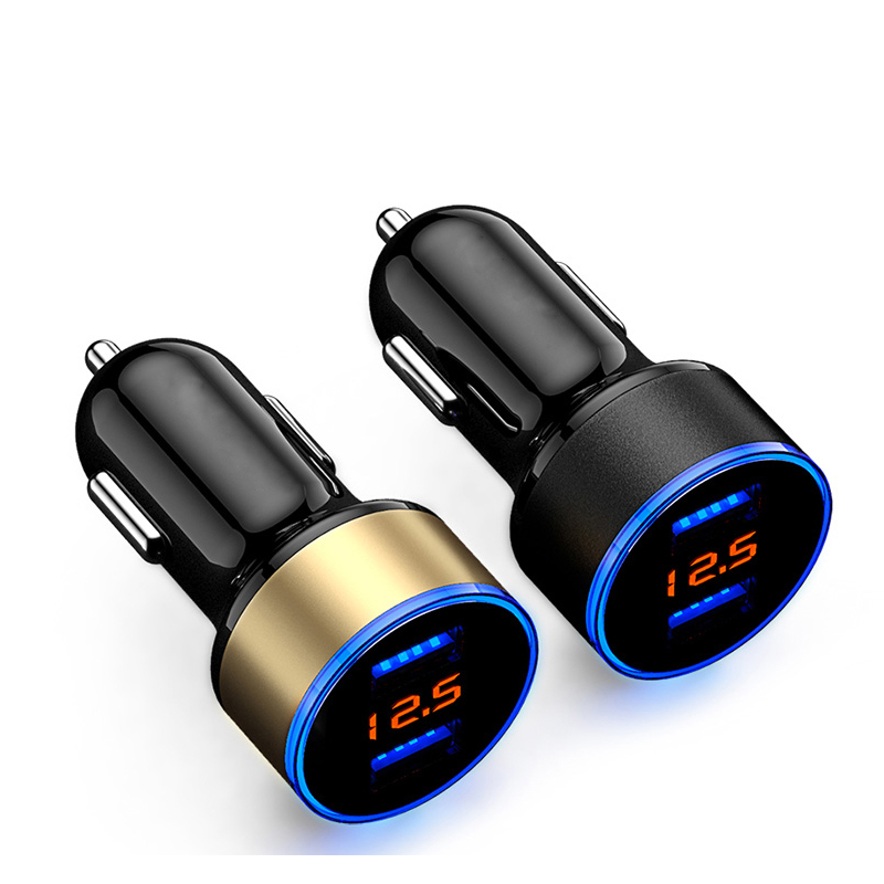 Caricabatteria Da auto 2 Porta 3.1A Dual USB Caricatore Display LCD 12-24V della Sigaretta Presa Accendisigari Caricabatteria per Auto Veloce adattatore