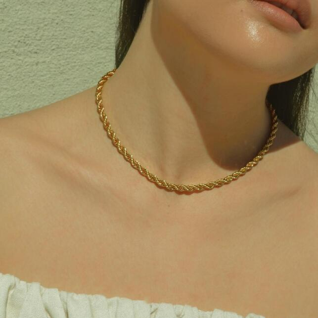 Stainless Steel 2MM 3MM 4MM 5MM Twist Thick Chain Choker Layered Men Women Gold Rope Chain Necklace