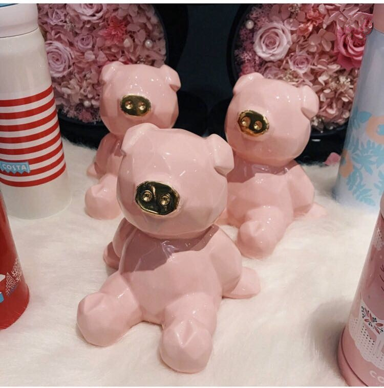Creative Ceramic Animal Bear Pink Piggy Money Bank Porcelain Birthday Wedding Gifts