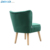 Soft high quality velvet rubber wood legs armchair living room accent chair bedroom armless chair