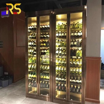 restaurant led wine refrigerator  modern stainless wine bottle cooler storage display
