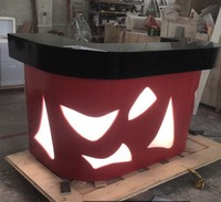 Luxury Acrylic solid surface moveable outdoor bar counter with led lamp ,solid surface BAR counter table