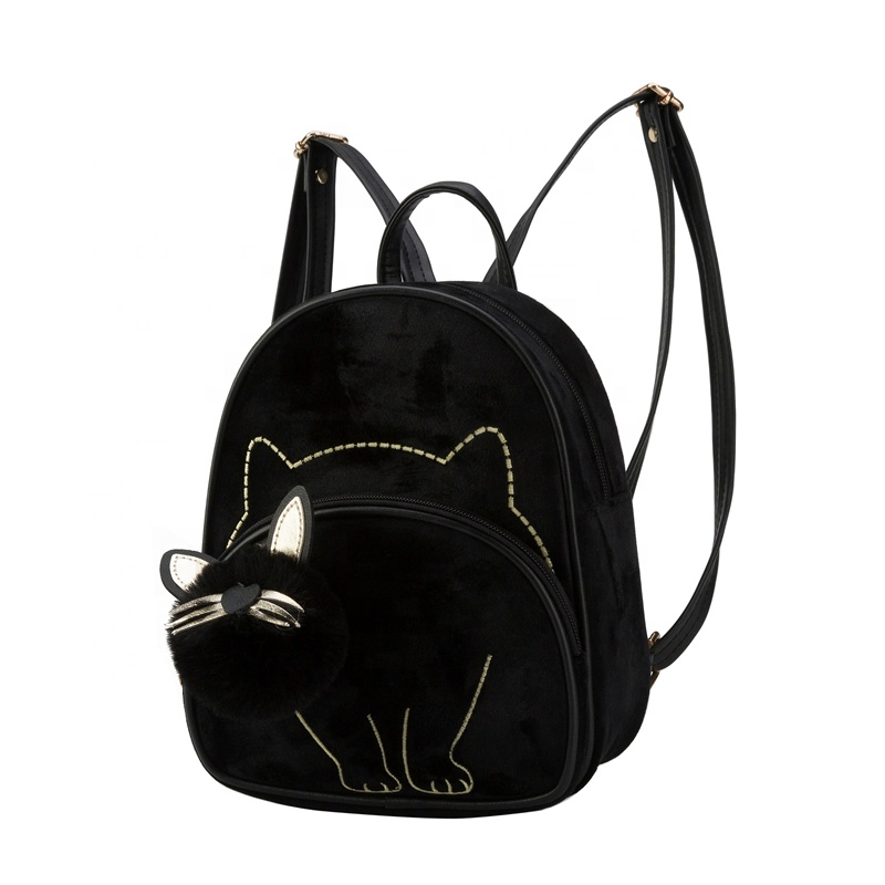 Heopono Branded OEM Fashion Animal Cat Design Daily Outdoor Small Suede Fabric Ladies Bag Cute Lovely Teen Girl Backpack