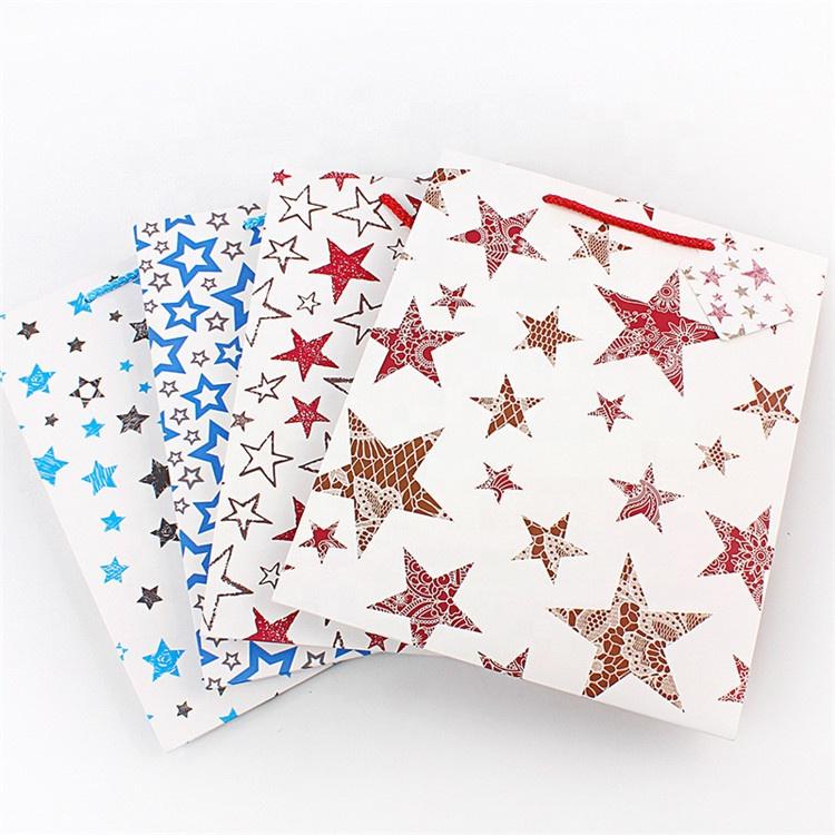 Customize Recycled Flat Bottom Star Pattern Custom Kraft Paper Bag