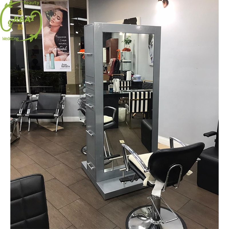 2019 Modern double side salon styling mirror station with led light