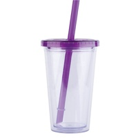 16oz 500ml customized plastic bubble boba milk tea cup with 12mm wide straw