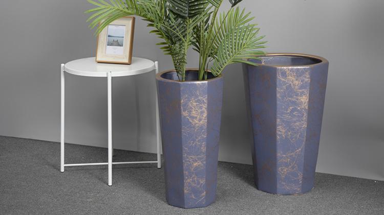 Elegant western style purple marbling high quality luxury modern outdoor bulk wholesale ceramic large flower pots