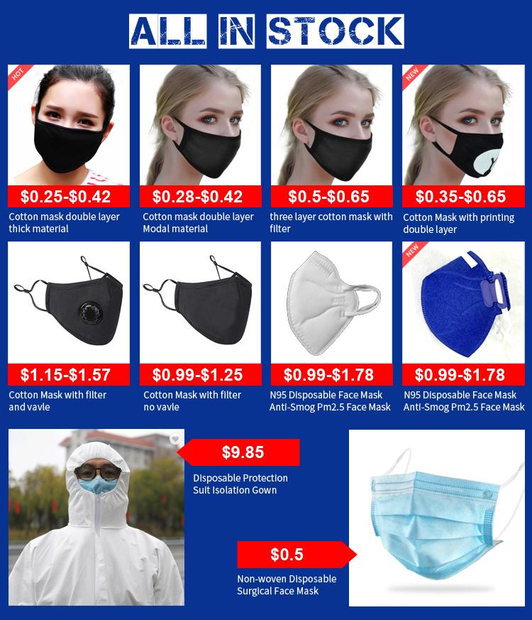 Custom Katoen Blend Anti Dust Gezicht Mode Zwarte Mond Cover Masker Voor Man Vrouwen