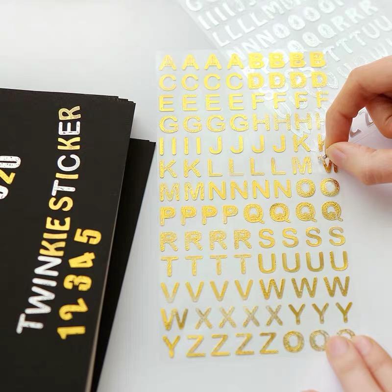 अमेज़न उच्च गुणवत्ता अद्वितीय रचनात्मक वर्णमाला पत्र Vinyl के सोने की पन्नी स्टीकर