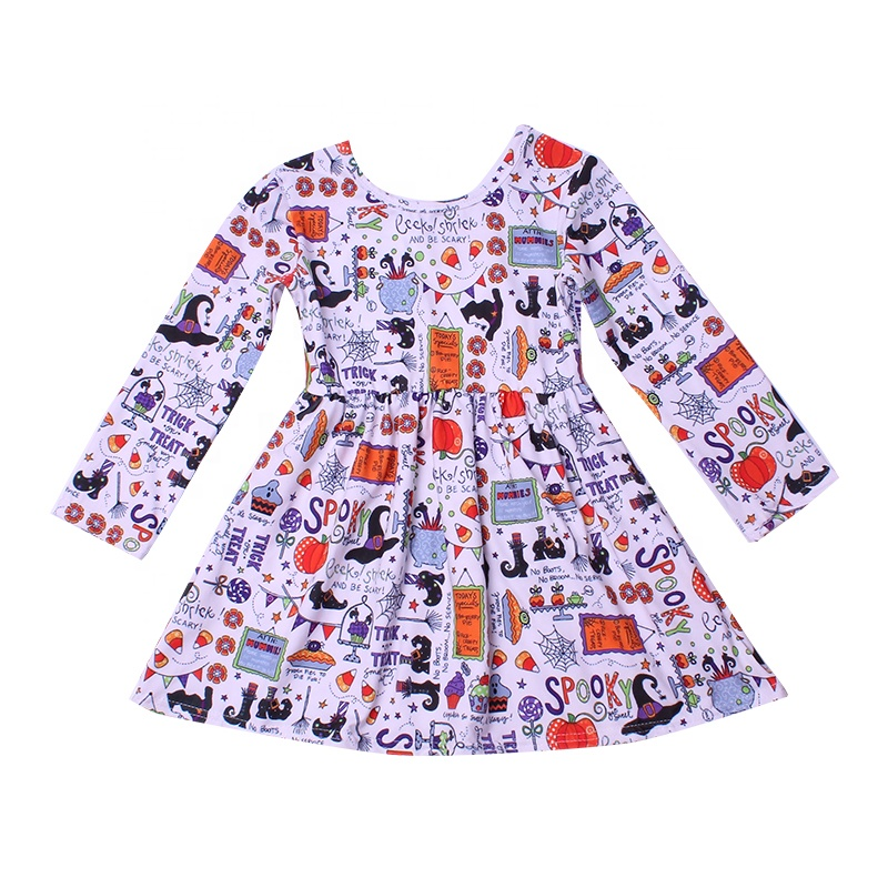 <strong>Fashion</strong> <strong>girl</strong> pretty dress <strong>kids</strong> <strong>girl</strong> size 12year Halloween day trick or treat bat design party frock long sleeve twirl skirts