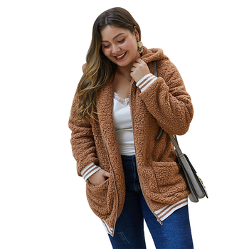 Brand new lady fashion long sleeve hooded for women plush coat plus size winter coats