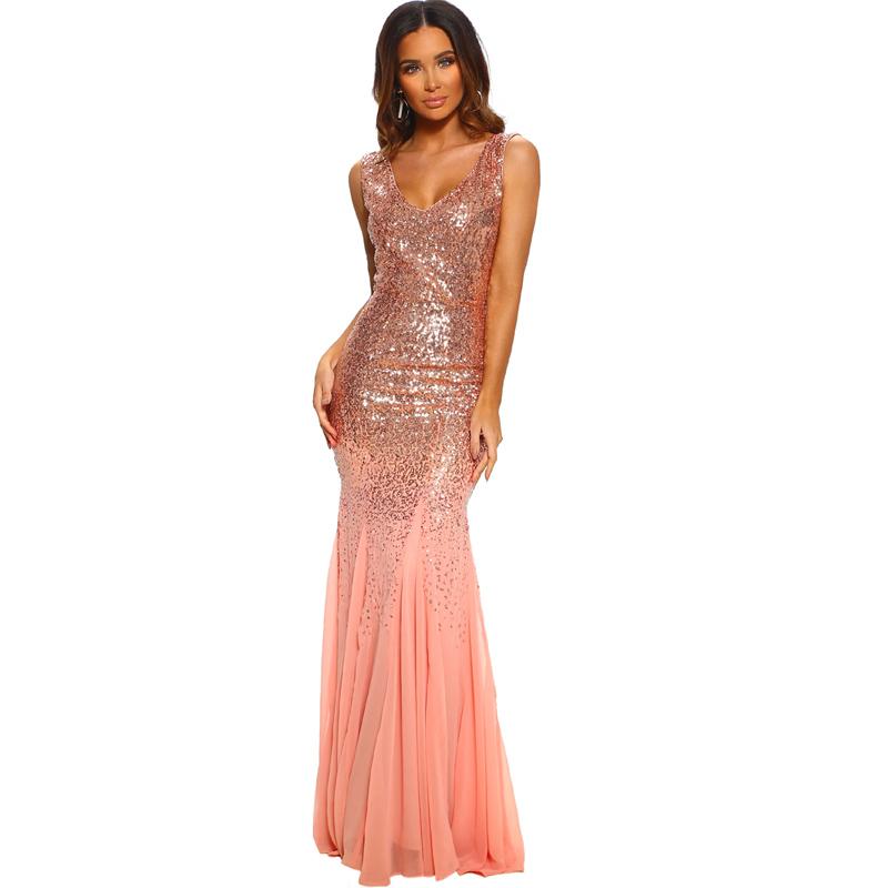 فستان سهرة نسائي مثير بدون أكمام بفتحة رقبة على شكل v ومُزين بالترتر باللون الوردي للنساء