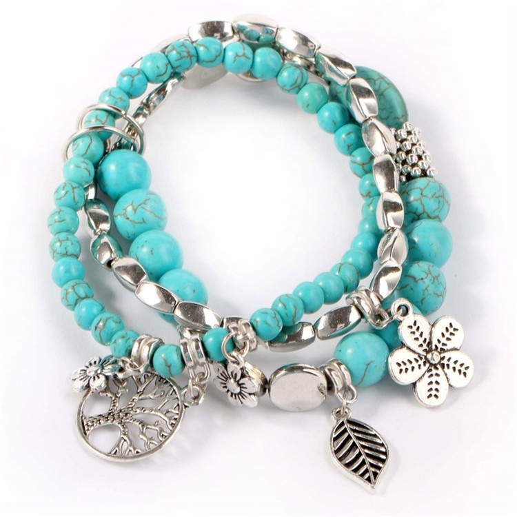 New Design Multilayer Cheap Beaded Bracelet Tassel Wrap Handmade Charm Layer Leaf Blue Turquoise Beaded Bracelet For Women
