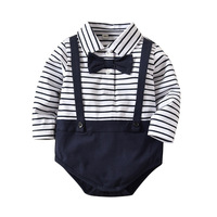 Newborn Gentleman Outfit Long Sleeve Stripe Jumpsuit Tuxedo Bow Tie Romper For Baby Boy Girl