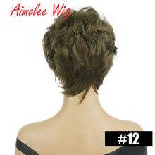 Пушистые короткие парики пепельный серый черный эффектом деграде (переход от темного к выделяет человеческие волосы смесь парики с челкой ...(Китай)