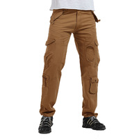 2019 men's multi-pocket cotton washed overalls casual outdoor trousers