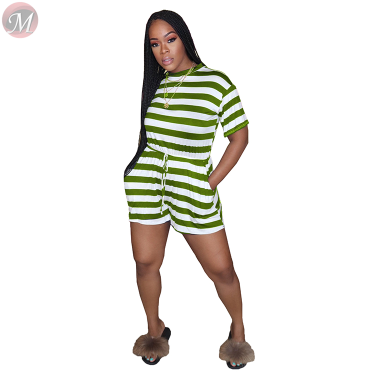 0042802 Summer 2020 Ladies Wholesale casual striped print drawstring Women One Piece short Jumpsuits And Rompers For Woman