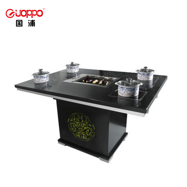 2019 Professional easy-cleaning artificial marble table top hot pot table, korean bbq grill table
