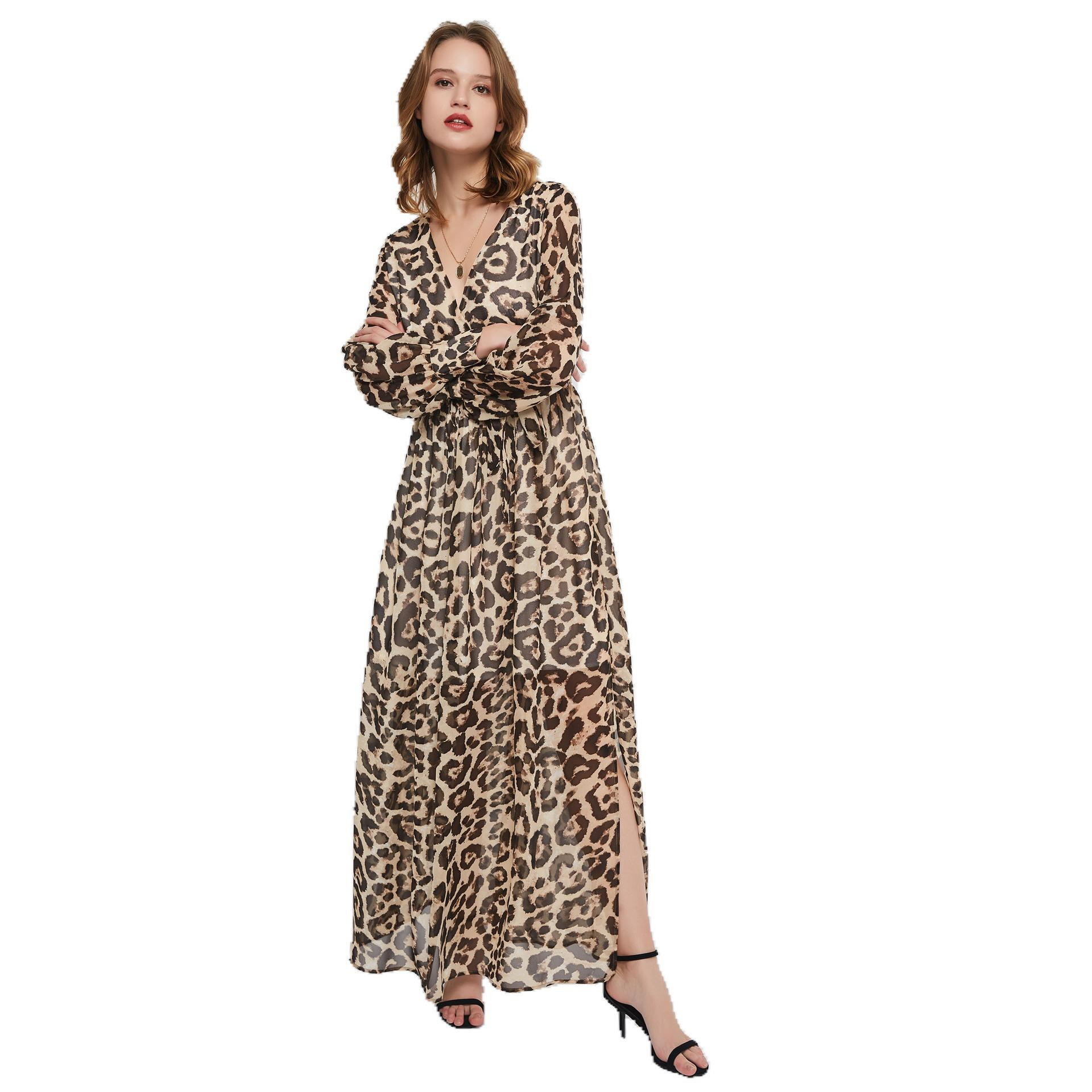 Wholesale <strong>Western</strong> Fashion <strong>Women</strong> Leopard Print Casual <strong>Dress</strong> Autumn <strong>Women's</strong> V-neck Long Sleeve Casual <strong>Dress</strong>