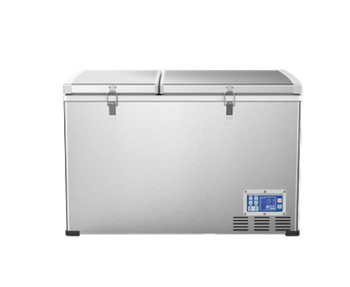 80L 12v/24v double doors portable dual zone freezer compressor car fridge for caravan camping