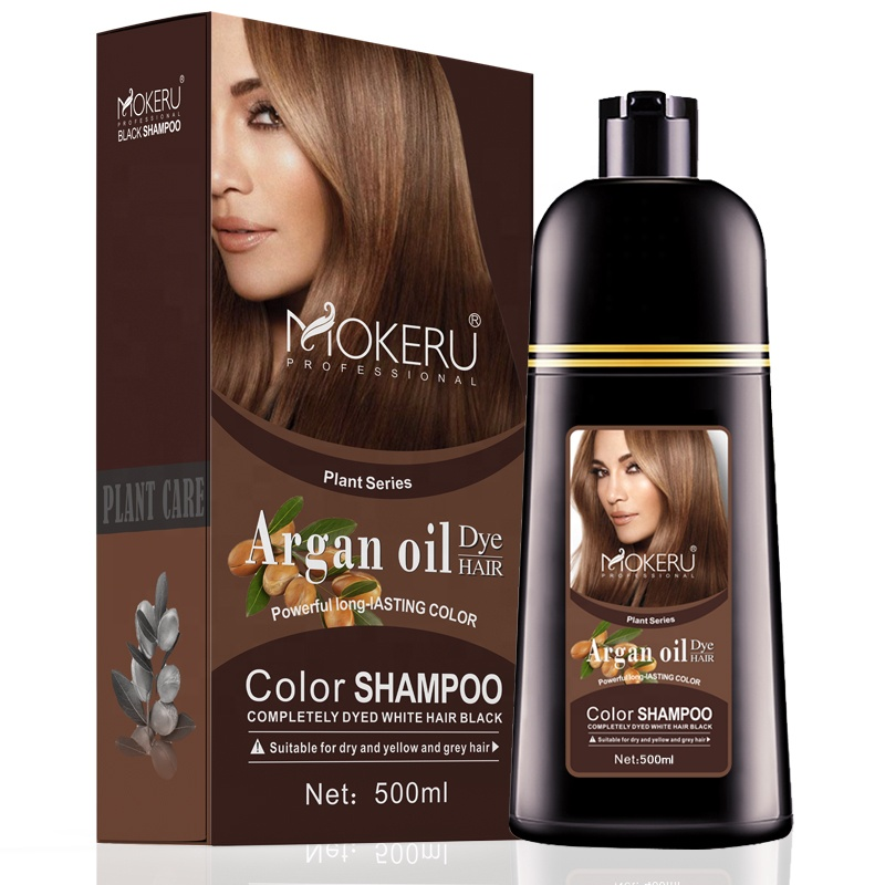 Mokeru Natural Argan Oil Essence Fast <strong>Hair</strong> <strong>Color</strong> Shampoo For Women Dry <strong>Hair</strong> Dye Permanent Shampoo For Grey <strong>Hair</strong>