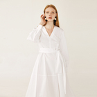 high quality women plain white casual Ruffled Dress boho clothing