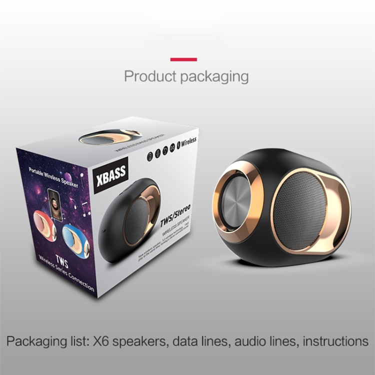 Christmas gift X6 TWS Outdoor Waterproof Bass Wireless BT Speaker Support Hands-free / USB / AUX / TF Card MINI speaker