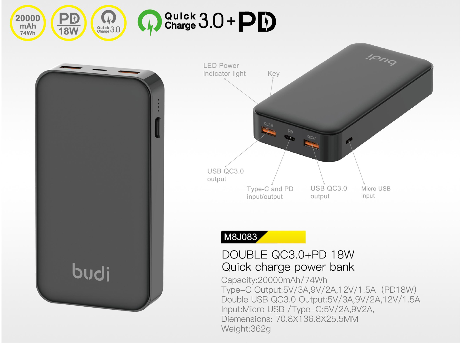 budi portable Quick Charge QC3.0 PD 18W Slim 10000mah powerbank support USB QC3.0 output and type-c PD input/output