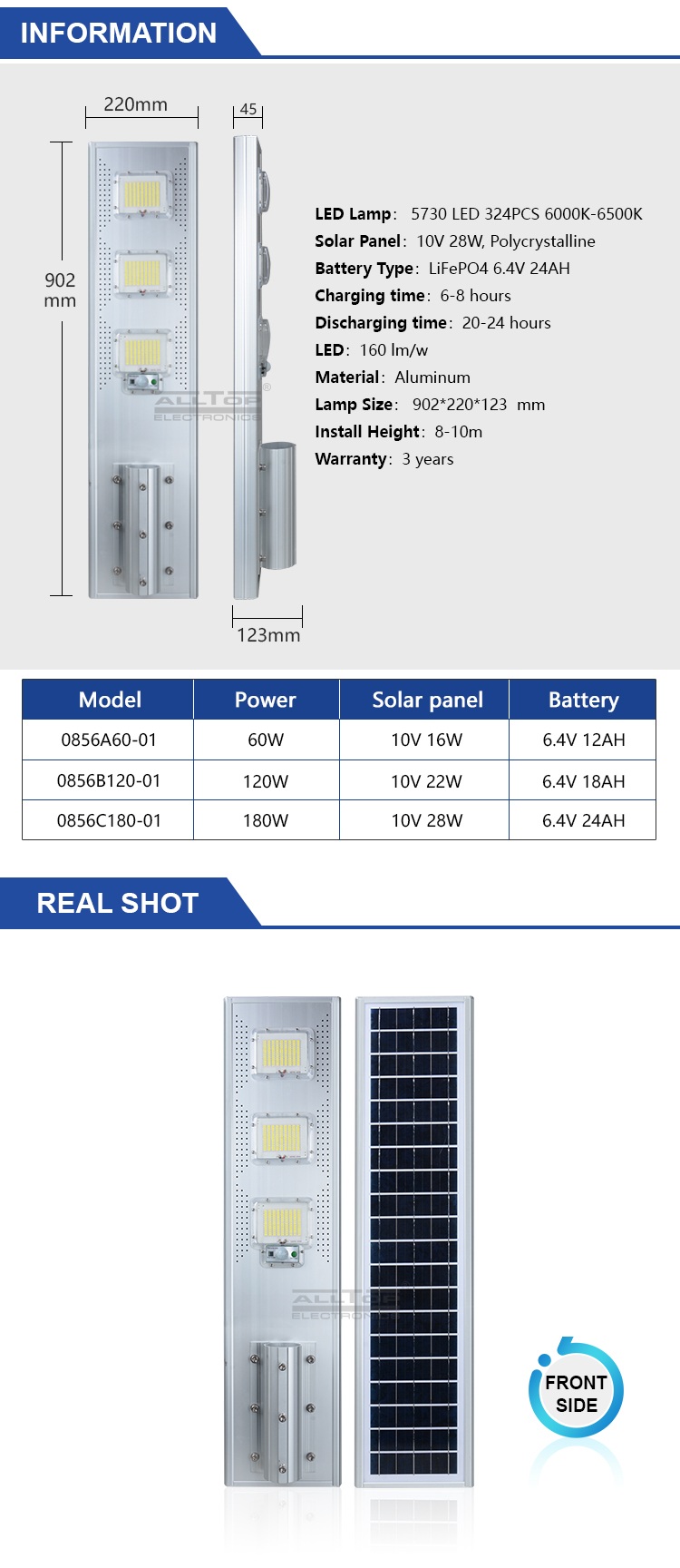 ALLTOP Aluminum waterproof IP65 module 60watt 120watt 180watt all in one solar led street light