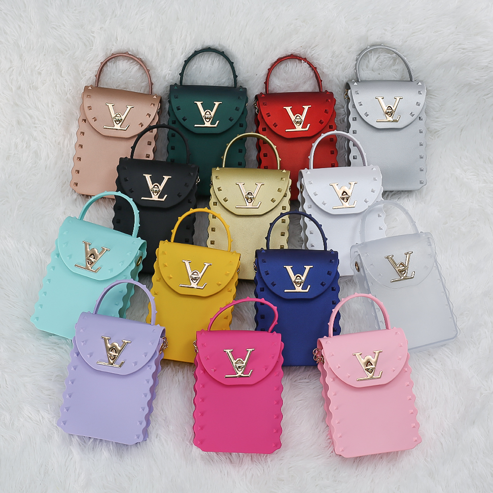 Wholesale Amazon Hot Sale PVC Transparent Square Underarm Jelly Tote Bags Casual Ladies Purses For Women Hand Bags 2021