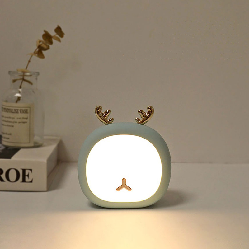 Cute Pet Night Light Deer Bunny Table Light For Kid Baby Stepless Touch USB Rechargeable Table Lamp Home Decoration