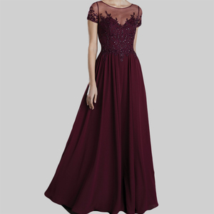 elegant evening dress long red lace sweetheart neck sheer back cap sleeve beaded hand embroidery embroidery flower girl dress