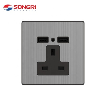 Songri Hotel Universal Wall Usb 3 Pin Socket With 2 USB Port