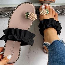 38 # женские шлепанцы на плоской подошве; Летние повседневные Вьетнамки с цветами и жемчугом; Женская обувь на плоской подошве; Большие разме...(Китай)