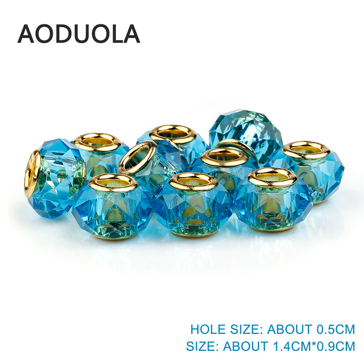 Green Faceted Crystal Glass Beads DIY Big Hole European Bead for jewelry making Charms Bracelet