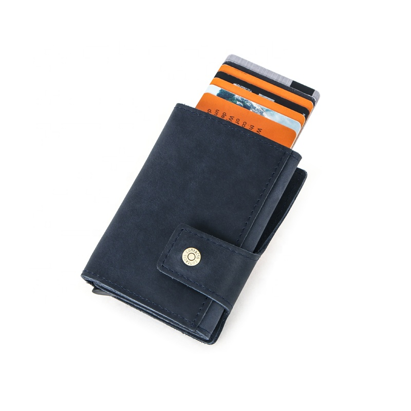 Wholesale CONTACTS oil nubuck leather small card <strong>wallet</strong> for men OEM ODM mens leather cardholder