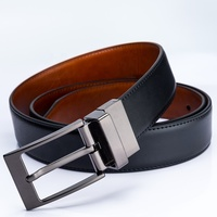 Fashion Business Men Black Cow Hide Double Sided Luxury Leather Belt